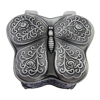 Beautiful Antique Pewter Plated Metal Butterfly Trinket Jewellery Box with Felt
