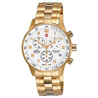 Swiss Military Quartz Analog Man Watch with SM34012.03 Gold Plated Stainless Steel Bracelet