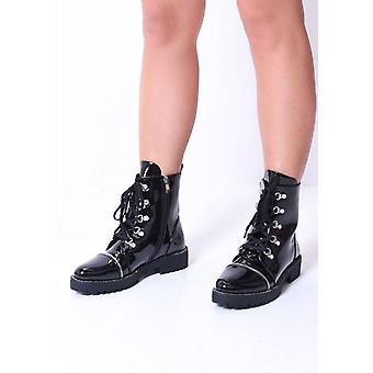 Lace Up Zip Detail Patent Combat Ankle Boots Black