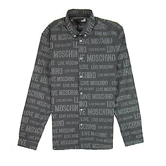 Love Moschino All Over camisa impresa gris oscuro