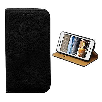 HTC Desire 728 Leather Case Black - Bookcase