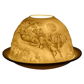 Light-Glow Flying Sleigh Lithophane Dome Tealight Candle Holder