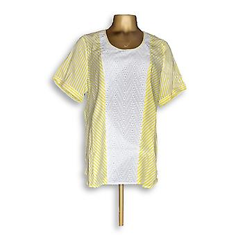 C. Wonder Women's Top Short Sleeve Striped w Eyelet Detail Yellow A277317