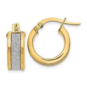 14k Yellow Gold Polished Hinged hoop Fancy Glitter Infused Hoop Earrings Jewelry Gifts for Women