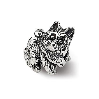 925 Plata esterlina pulido antiguo acabado Reflejos niños perro perla encanto