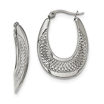 Stainless Steel Polished and Textured Swirl Hoop Earrings Jewelry Gifts for Women