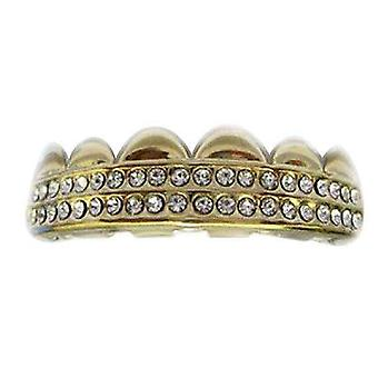 Grillz Guld Double Deck Iced Out Clear Cz Diamonds [top] Gz0025
