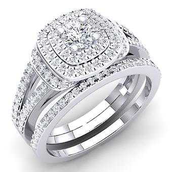 Dazzlingrock Collection 1.00 Carat (Ctw) 10K Round Diamond Ladies Bridal Halo Engagement Ring Set 1 CT, White Gold