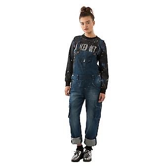 Daisy loose fit dungarees darkwash