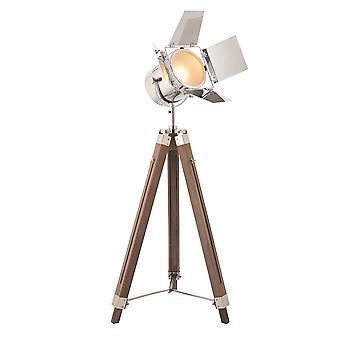 Endon Dalton 1 Lampa podłogowa Chrom, drewno topoli 76445
