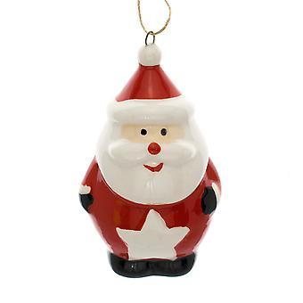 Einzelne 7cm Keramik Santa Weihnachtsbaum hängen Ornament