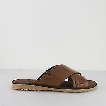 Base London Hector Mens Waxy Leather Sandals Tan