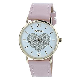 Ravel Ladies-Womens White Dial & Pink PU Buckle Strap Watch R0136.05.2