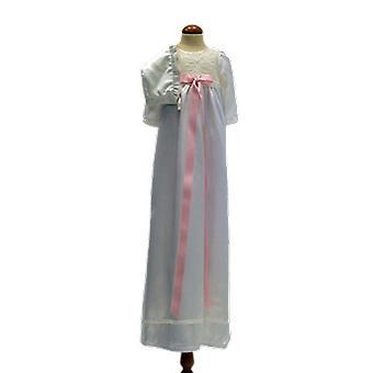 Dopklänning Och Dophätta I Off White, Bred Rosa Rosett.  Ma.la