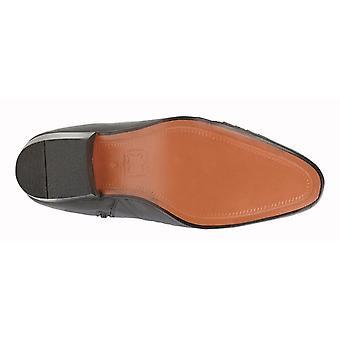 Kensington Mens Crisscross Pleated Cuban Heel Leather Ankle Boots