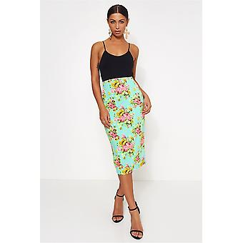 & Pink Floral Bodycon Skirt
