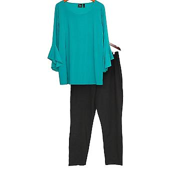 Women with Control Set Tall Flounce Sleeve Top & Pant Teal Blue A302300