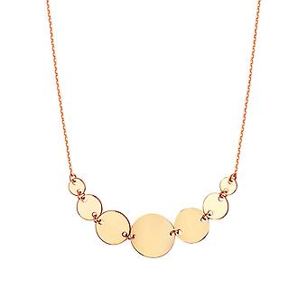 14k Rose Gold Graduated Disc Side ways Adjustable Necklace 18 Inch Jewelry Gifts for Women