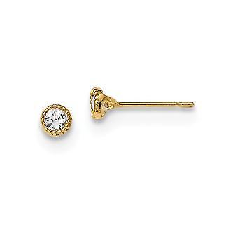 3.8mm 14k Madi K Milgrain Bezel CZ Cubic Zirconia Simuleret Diamond Post Øreringe smykker Gaver til kvinder