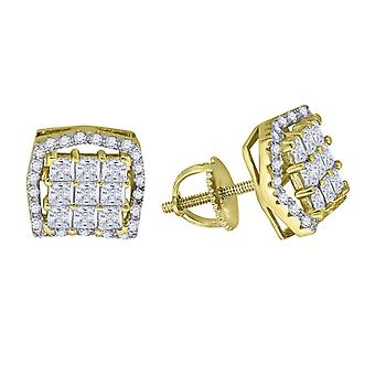 925 Sterling Silver Mens Yellow tone CZ Cubic Zirconia Simulated Diamond Square Concave Edges Stud Earrings Jewelry Gift
