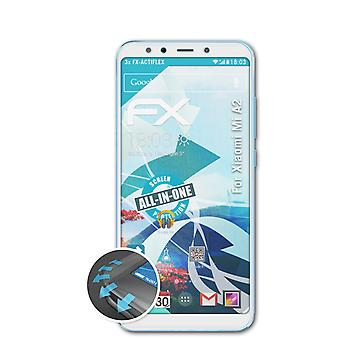 atFoliX 3x Protective Film compatible with Xiaomi Mi A2 Screen Protector clear&flexible