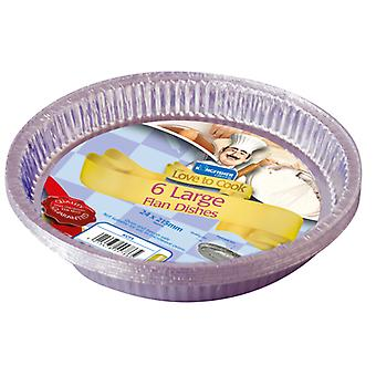 Kingfisher 6 Pack Of Large Foil Flan Dishes 2.4 x 21.5cm