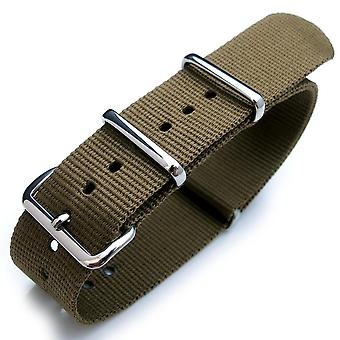 Strapcode n.a.t.o watch strap 20mm, 21mm, 22mm heat sealed heavy nylon polished buckle - green