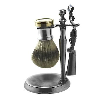 Shooting Pewter Shaving Set - Includes Brush, Stand and Razor