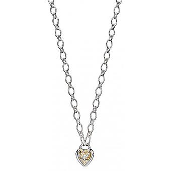 Joshua James Allure Silver & Yellow Gold Plated Heart Lock Necklace