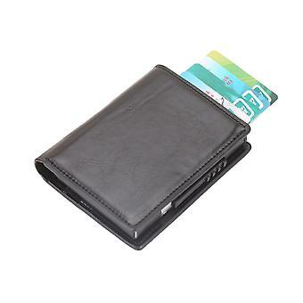 RFID Card holder/tegnebog PU læder sort