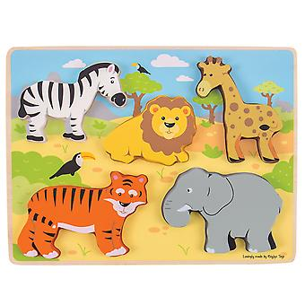 Bigjigs Toys Educational Chunky Wooden Lift Out Safari Jigsaw Puzzle