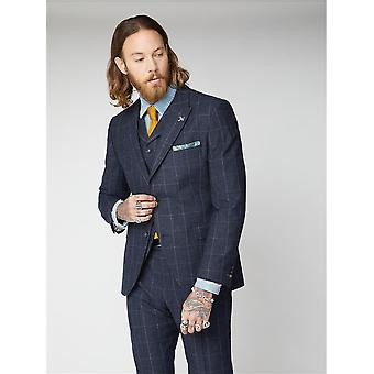 Clarence Navy & Grey Windowpane Check Suit Jacket