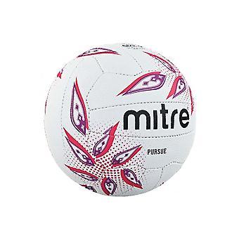 Mitre Pursue Netball Ball White/Magenta/Purple