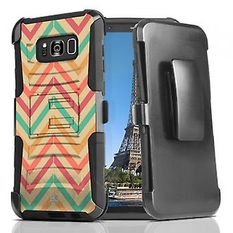 Bayond Cell Shell Case Armor Combo with Kickstand for Galaxy S8 - Pastel Chevron