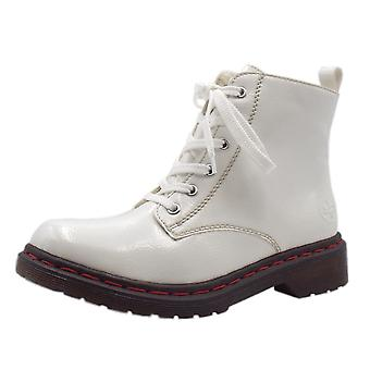Rieker Y8210-80 Lippy Hiking Style Fashion Boots In White Patent