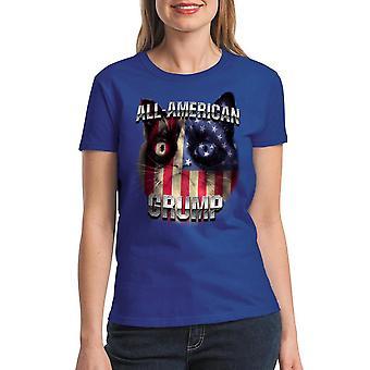 Grumpy Cat All American Grump Women's Royal Blue Funny T-shirt