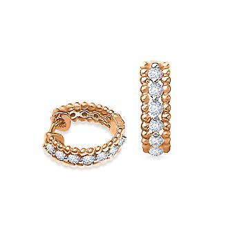 Cercei Vanity Diamante albe și aur 18K