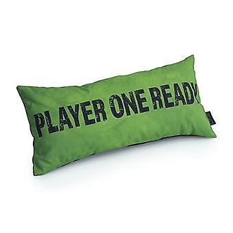 Game Over Player one Ready Slogan - Lime | Almofada para Jogos | Migalha de espuma enchida | Resistente à água | Roupa de cama e sofá | Home D cor