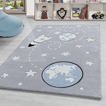 Children's carpet space with spaceship planets and stars pattern silver white