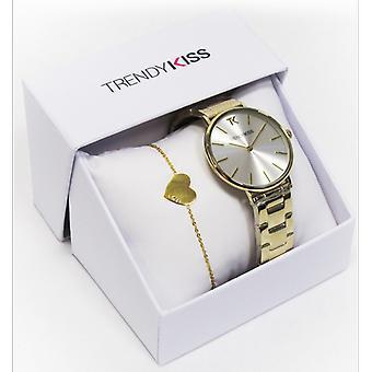 Trendikäs Kiss laatikko CTK-25-Watch IRIS TMG10095-03 ja ranne koru Dor teräs nainen