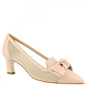 Leonardo Shoes Women's handmade mid heels pumps powder pink openwork leather