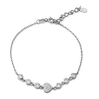 "ELANZA 1.12 Ct Cubic Zirconia CZ Charm Bracelet Sterling Silver Sz 6.75"" 1"""