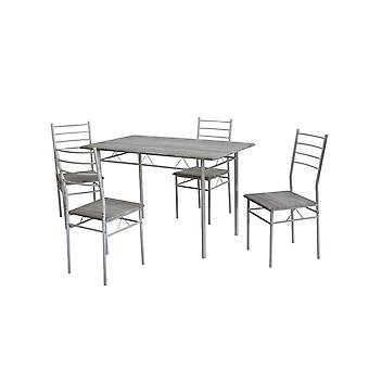 Chairs & Table Porto White Color, Natural Metal Wood, MDF, Table L120xP70xA75 cm, Chair L38xP37.5xA88 cm
