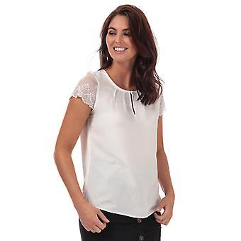 Camiseta de manga de encaje Vero Moda Nina para mujer en blanco