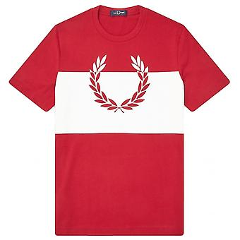 Fred Perry gedruckt Lorbeer T-shirt rotes T-shirt