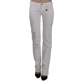 Costume National White Cotton Slim Fit Straight Jeans Pants