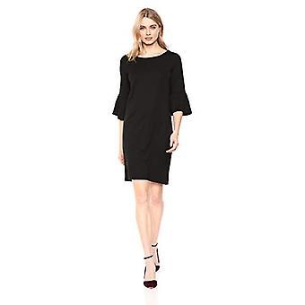 Merk - Lark & Ro Women's Bell Sleeve Knit Dress, Zwart,Groot