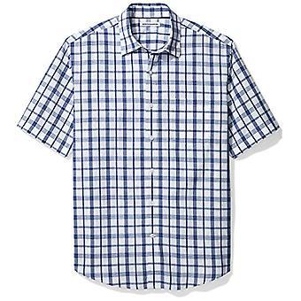 Essentials Men & apos;s العادية تناسب قصيرة الأكمام عارضة قميص بوبلين, أبيض / B ...