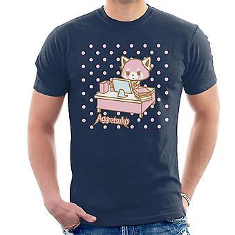 Aggretsuko Retsuko Bij Bureau Pink Polka Dot Men's T-Shirt