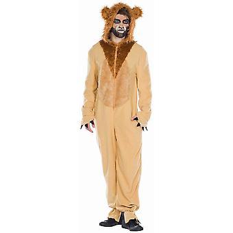 Lion Overall Unisex Heren Kostuum Animal Costume Lion Overall Hooded Overall Lion Carnival